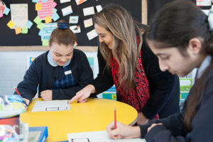 Teacher and student working together at St Agnes Catholic Primary School Matraville