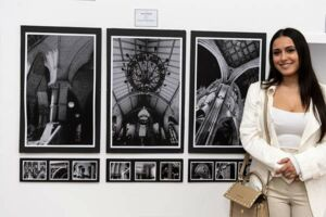 Anna Giannini, former St Ursula's College Kingsgrove student, with her Clancy Prize artwork